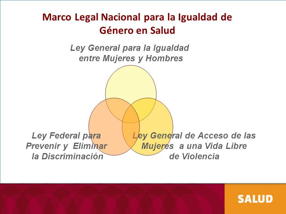 Marco Legal Nacional para la Igualdad de Género en Salud Ley General para la Igualdad entre Mujeres y Hombres Ley General de Acceso de las Mujeres a u
