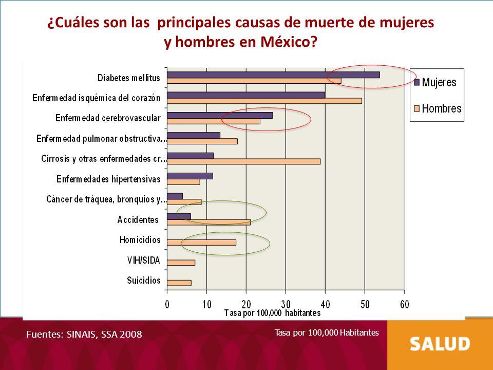 Fuentes: SINAIS, SSA 2008 Tasa por 100,000 Habitantes ¿Cuáles son las principales causas de muerte de mujeres y hombres en México?