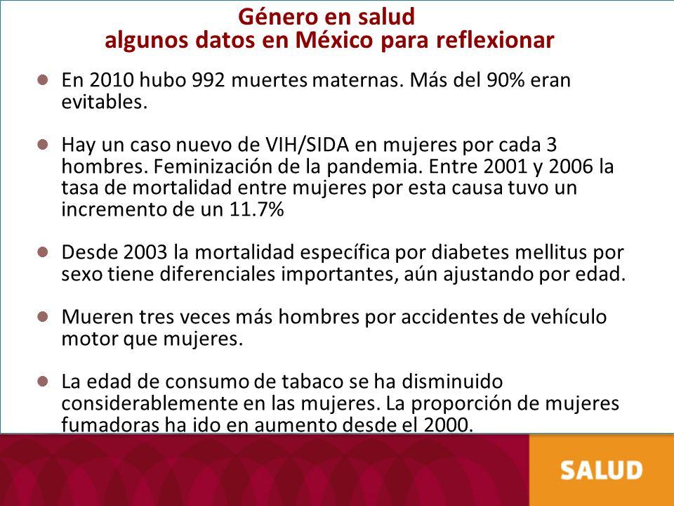Género en salud algunos datos en México para reflexionar En 2010 hubo 992 muertes maternas. Más del 90% eran evitables. Hay un caso nuevo de VIH/SIDA
