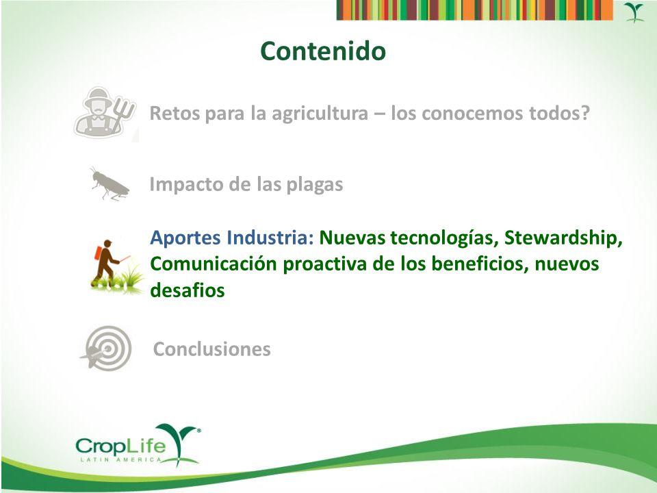 Fuente: European Union Investment Scoreboard 2012, USDA, Phillips McDougall, FAO, IndexMundi Gastos de la industria en I&D [% ventas] Inversión en Investigación y Desarrollo de la Industria de la Ciencia de los Cultivos: US$ 7.300 mill