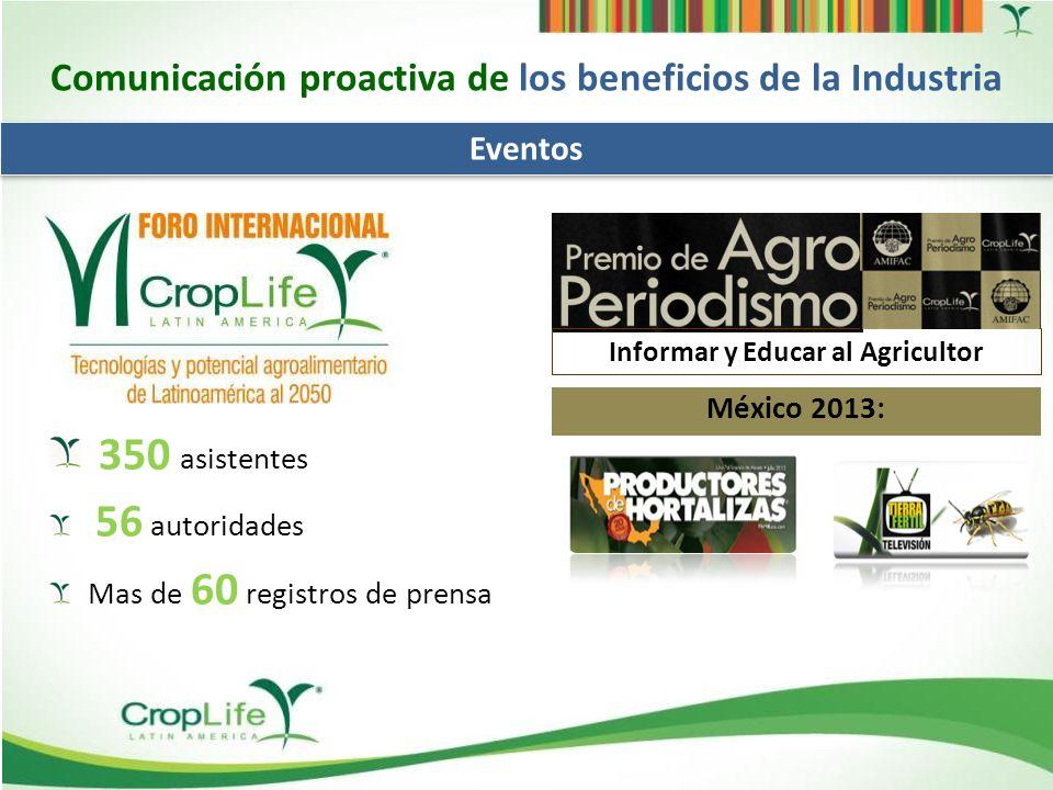 Desarrollo de Mensajes en FOROS Comunicación proactiva de los beneficios de la Industria SENASICA & SAGARPA, México, Octubre 2013.