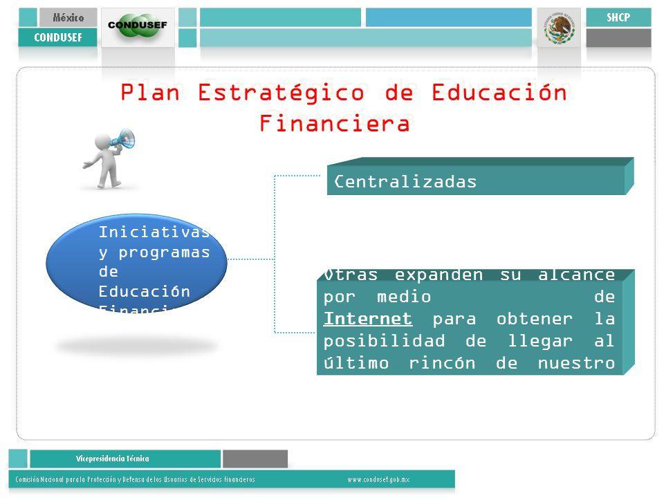 Plan Estratégico de Educación Financiera Iniciativas y programas de Educación Financiera Otras expanden su alcance por medio de Internet para obtener la posibilidad de llegar al último rincón de nuestro país.
