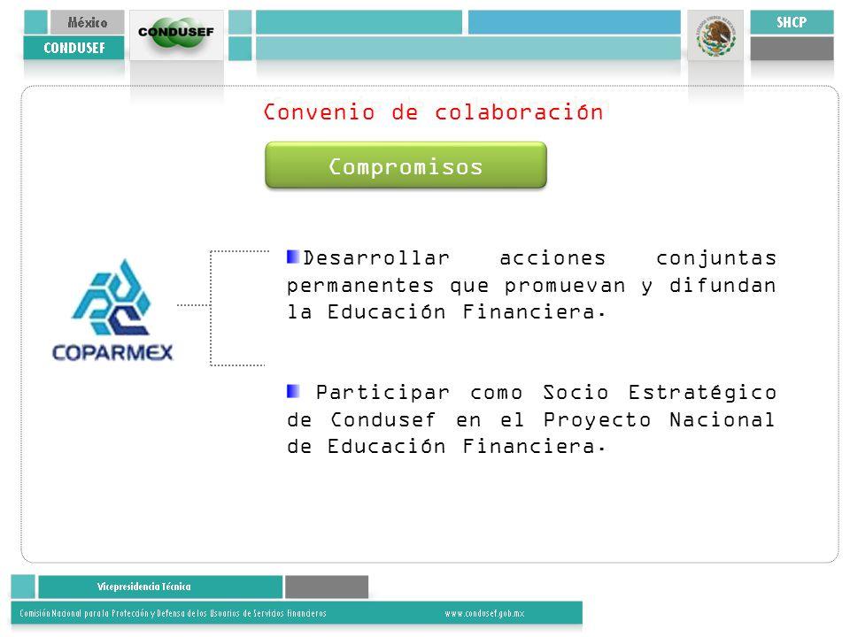 Convenio de colaboración Compromisos Desarrollar acciones conjuntas permanentes que promuevan y difundan la Educación Financiera. Participar como Soci