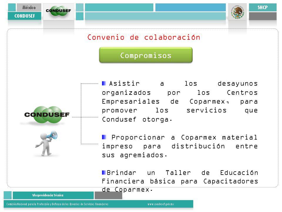 Convenio de colaboración Compromisos Asistir a los desayunos organizados por los Centros Empresariales de Coparmex, para promover los servicios que Condusef otorga.
