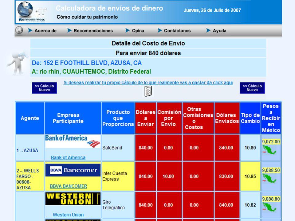 SHCP Í ndice Bank Of America en la Calculadora de Envíos de Dinero. P. 40 6 de marzo de 2007 Agentes en México Telecom Telégrafos y La Red de la Gente