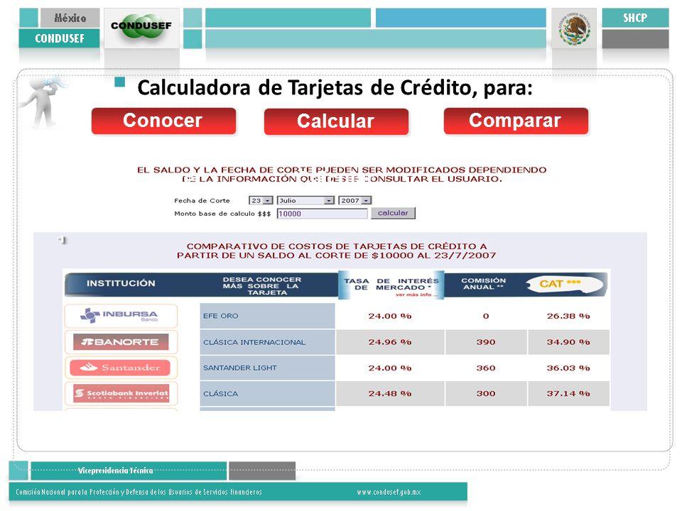 Conocer Calcular Conocer Calcular Comparar Calculadora de Tarjetas de Crédito, para: