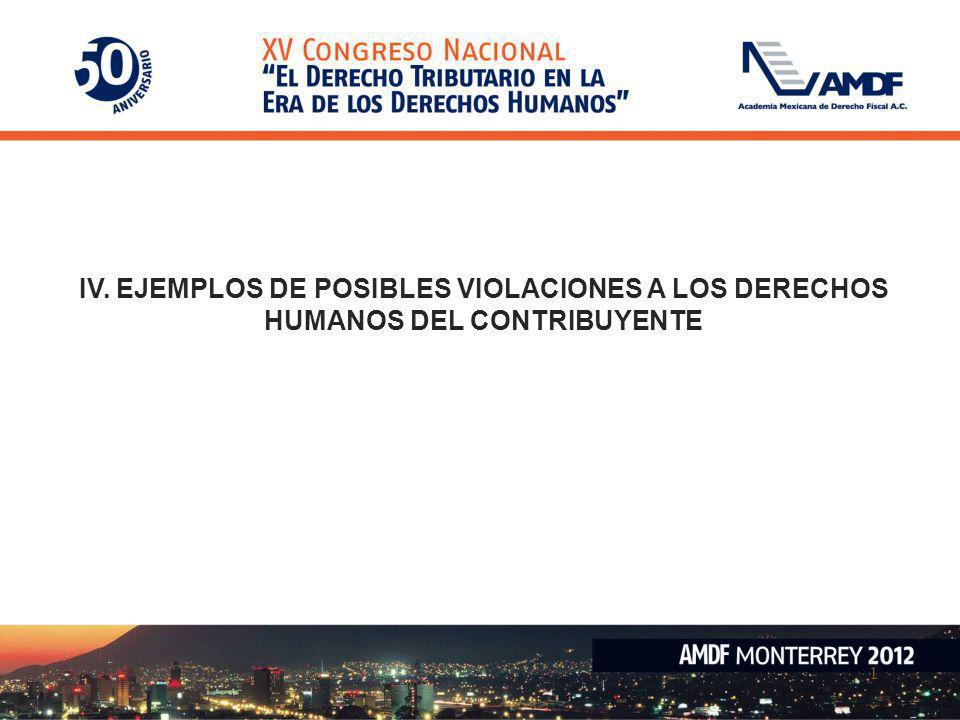 1 IV. EJEMPLOS DE POSIBLES VIOLACIONES A LOS DERECHOS HUMANOS DEL CONTRIBUYENTE