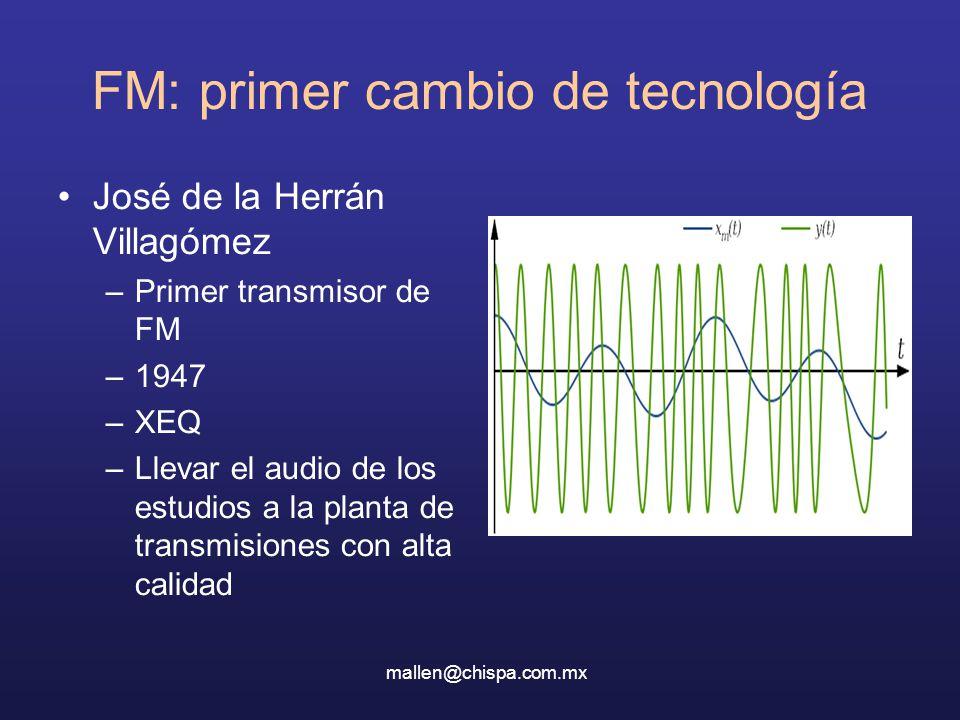 FM: primer cambio de tecnología José de la Herrán Villagómez –Primer transmisor de FM –1947 –XEQ –Llevar el audio de los estudios a la planta de transmisiones con alta calidad mallen@chispa.com.mx