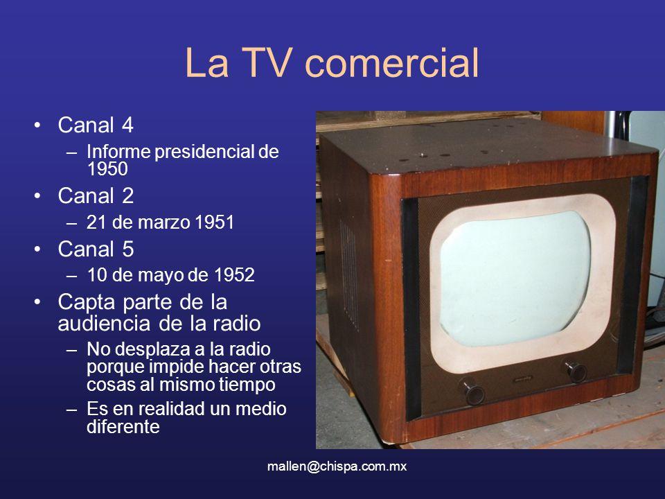 La TV comercial Canal 4 –Informe presidencial de 1950 Canal 2 –21 de marzo 1951 Canal 5 –10 de mayo de 1952 Capta parte de la audiencia de la radio –No desplaza a la radio porque impide hacer otras cosas al mismo tiempo –Es en realidad un medio diferente mallen@chispa.com.mx