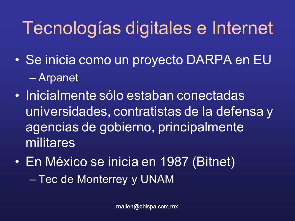 Tecnologías digitales e Internet Se inicia como un proyecto DARPA en EU –Arpanet Inicialmente sólo estaban conectadas universidades, contratistas de la defensa y agencias de gobierno, principalmente militares En México se inicia en 1987 (Bitnet) –Tec de Monterrey y UNAM mallen@chispa.com.mx