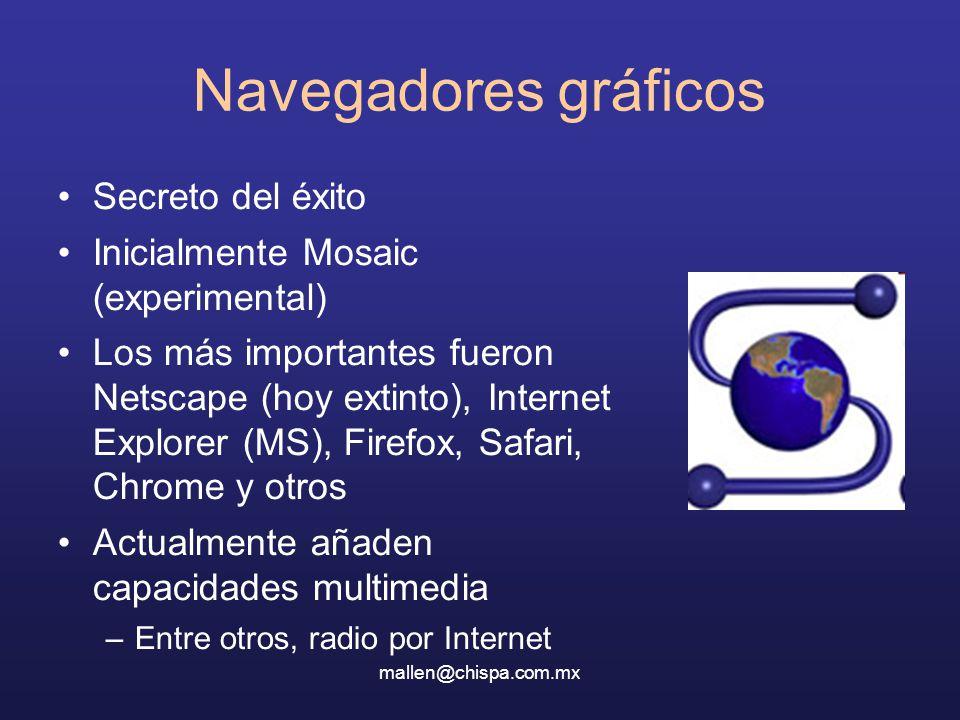 mallen@chispa.com.mx Navegadores gráficos Secreto del éxito Inicialmente Mosaic (experimental) Los más importantes fueron Netscape (hoy extinto), Internet Explorer (MS), Firefox, Safari, Chrome y otros Actualmente añaden capacidades multimedia –Entre otros, radio por Internet