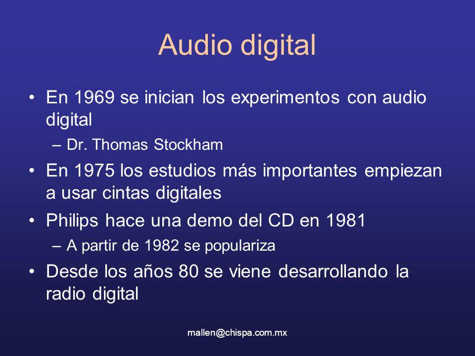 mallen@chispa.com.mx Audio digital En 1969 se inician los experimentos con audio digital –Dr. Thomas Stockham En 1975 los estudios más importantes emp