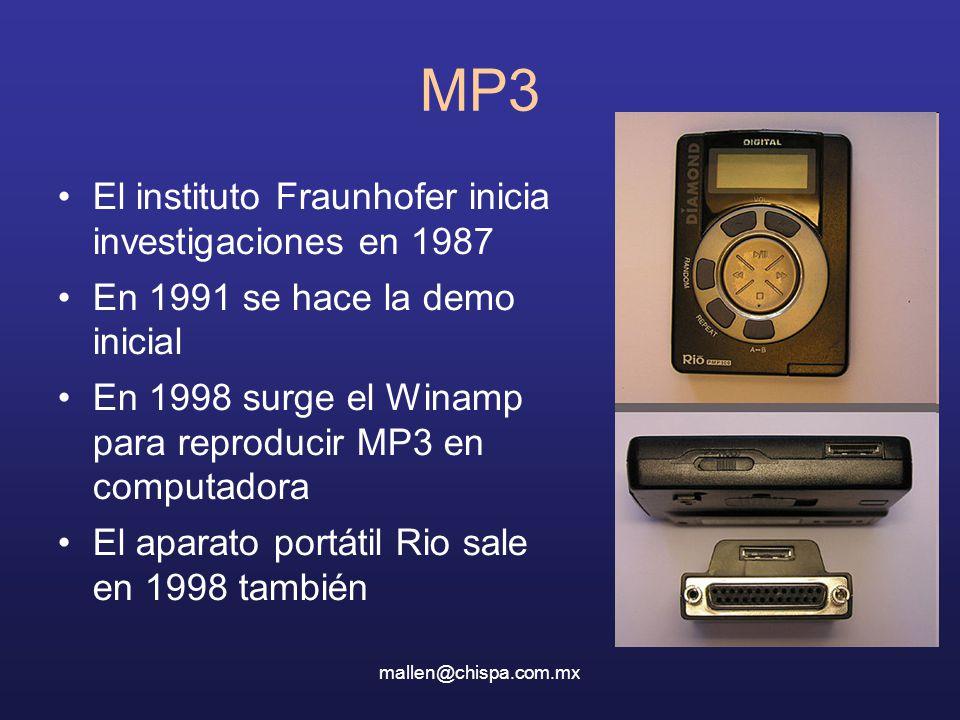 mallen@chispa.com.mx MP3 El instituto Fraunhofer inicia investigaciones en 1987 En 1991 se hace la demo inicial En 1998 surge el Winamp para reproducir MP3 en computadora El aparato portátil Rio sale en 1998 también