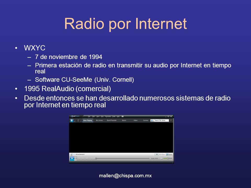 mallen@chispa.com.mx Radio por Internet WXYC –7 de noviembre de 1994 –Primera estación de radio en transmitir su audio por Internet en tiempo real –Software CU-SeeMe (Univ.