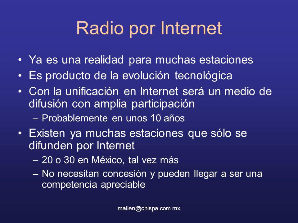 mallen@chispa.com.mx Radio por Internet Ya es una realidad para muchas estaciones Es producto de la evolución tecnológica Con la unificación en Intern