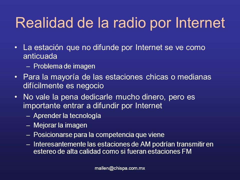 mallen@chispa.com.mx Realidad de la radio por Internet La estación que no difunde por Internet se ve como anticuada –Problema de imagen Para la mayorí