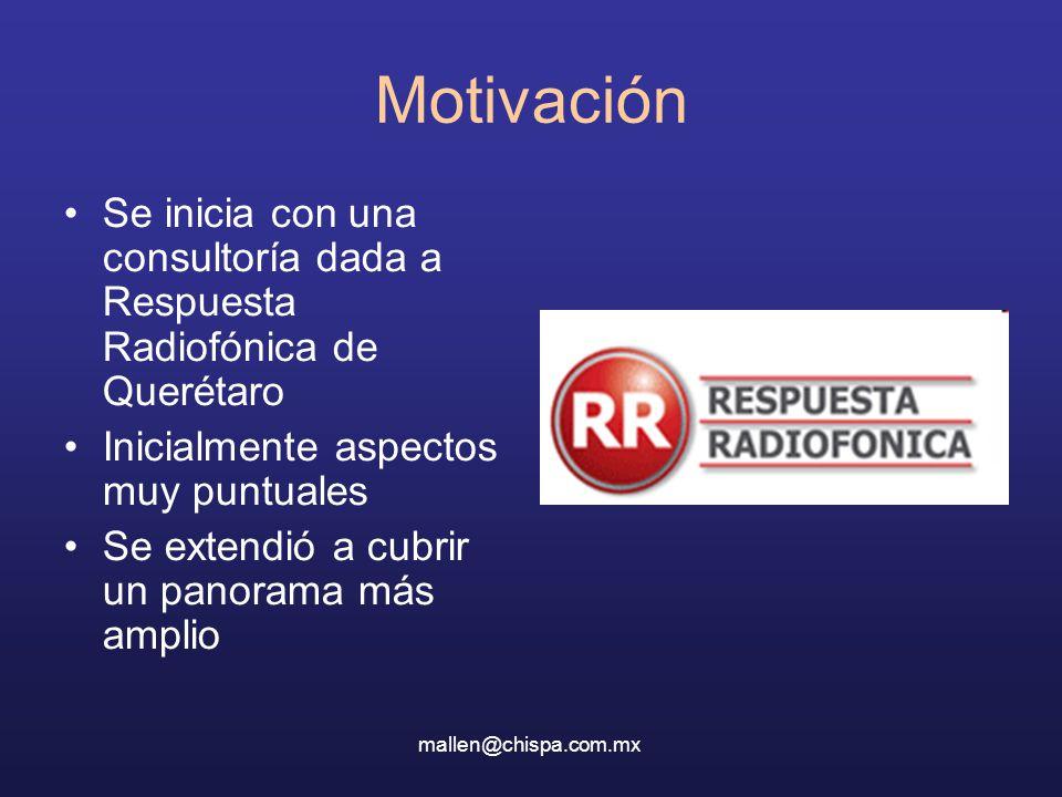 Motivación Se inicia con una consultoría dada a Respuesta Radiofónica de Querétaro Inicialmente aspectos muy puntuales Se extendió a cubrir un panorama más amplio mallen@chispa.com.mx