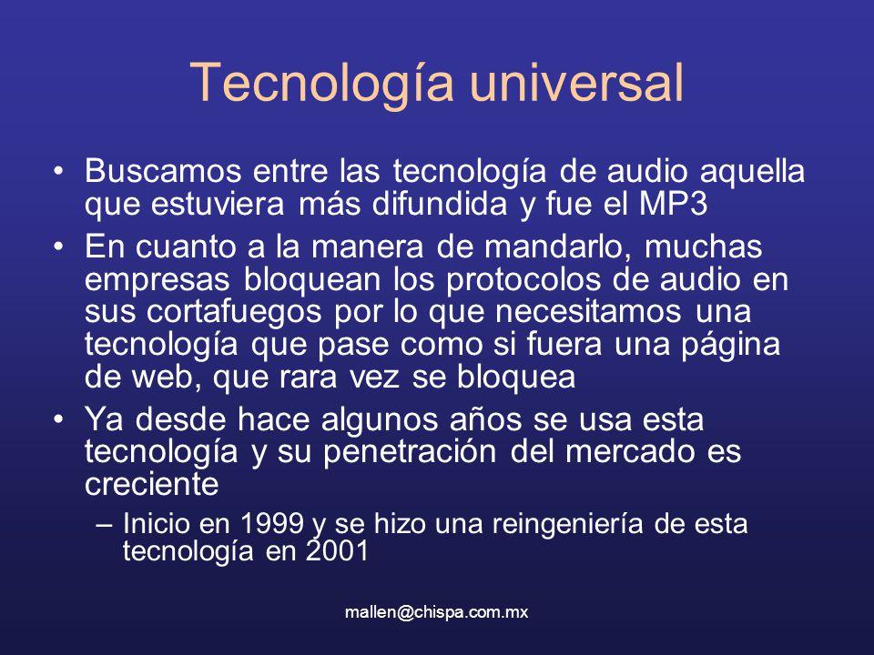 mallen@chispa.com.mx Tecnología universal Buscamos entre las tecnología de audio aquella que estuviera más difundida y fue el MP3 En cuanto a la manera de mandarlo, muchas empresas bloquean los protocolos de audio en sus cortafuegos por lo que necesitamos una tecnología que pase como si fuera una página de web, que rara vez se bloquea Ya desde hace algunos años se usa esta tecnología y su penetración del mercado es creciente –Inicio en 1999 y se hizo una reingeniería de esta tecnología en 2001