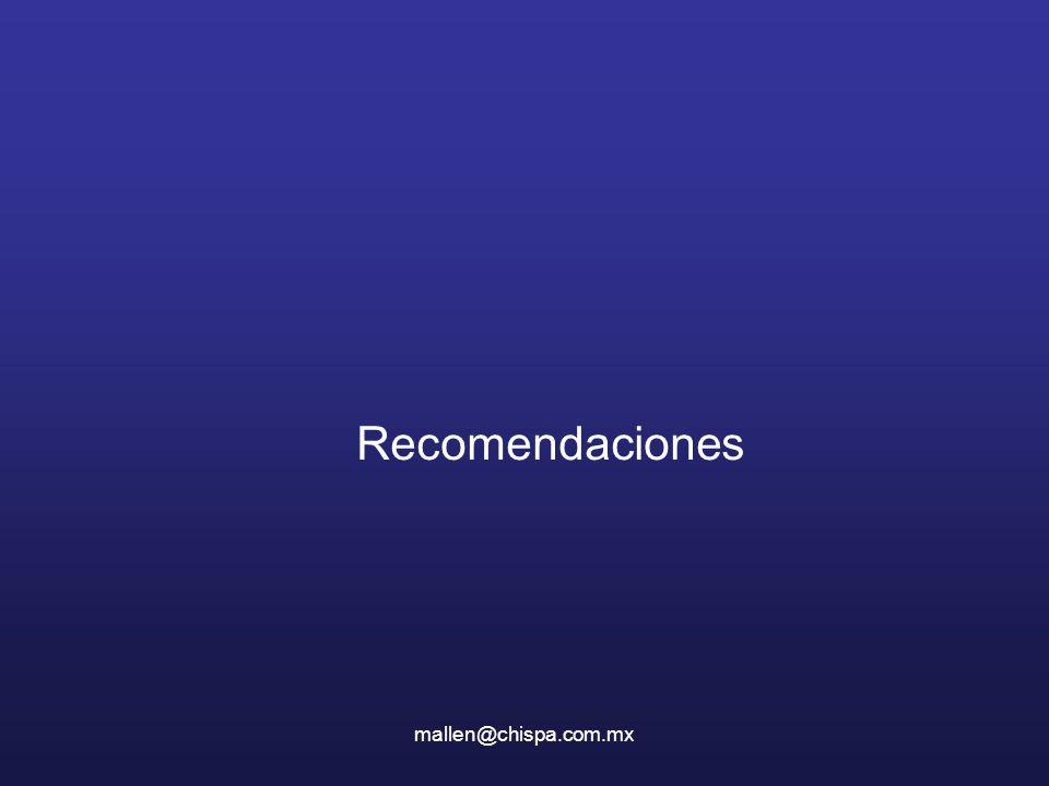 mallen@chispa.com.mx Recomendaciones
