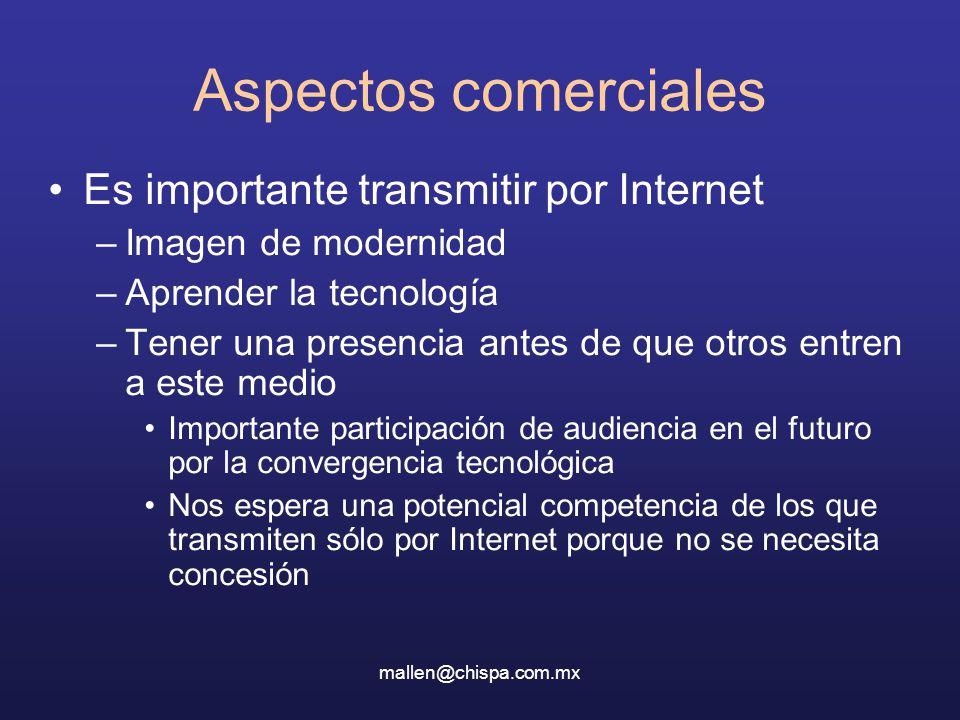 mallen@chispa.com.mx Aspectos comerciales Es importante transmitir por Internet –Imagen de modernidad –Aprender la tecnología –Tener una presencia ant