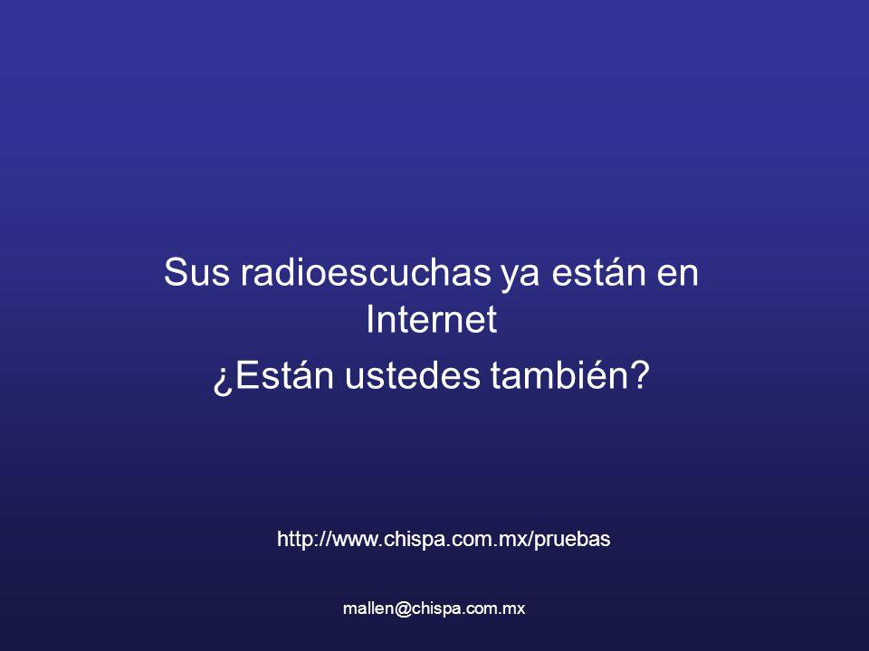 mallen@chispa.com.mx Sus radioescuchas ya están en Internet ¿Están ustedes también? http://www.chispa.com.mx/pruebas