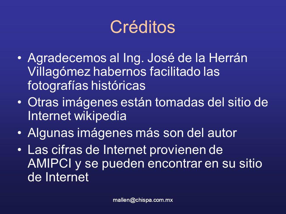 mallen@chispa.com.mx Créditos Agradecemos al Ing. José de la Herrán Villagómez habernos facilitado las fotografías históricas Otras imágenes están tom