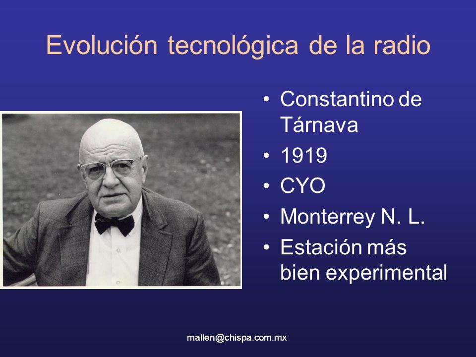 Constantino de Tárnava 1919 CYO Monterrey N. L. Estación más bien experimental mallen@chispa.com.mx