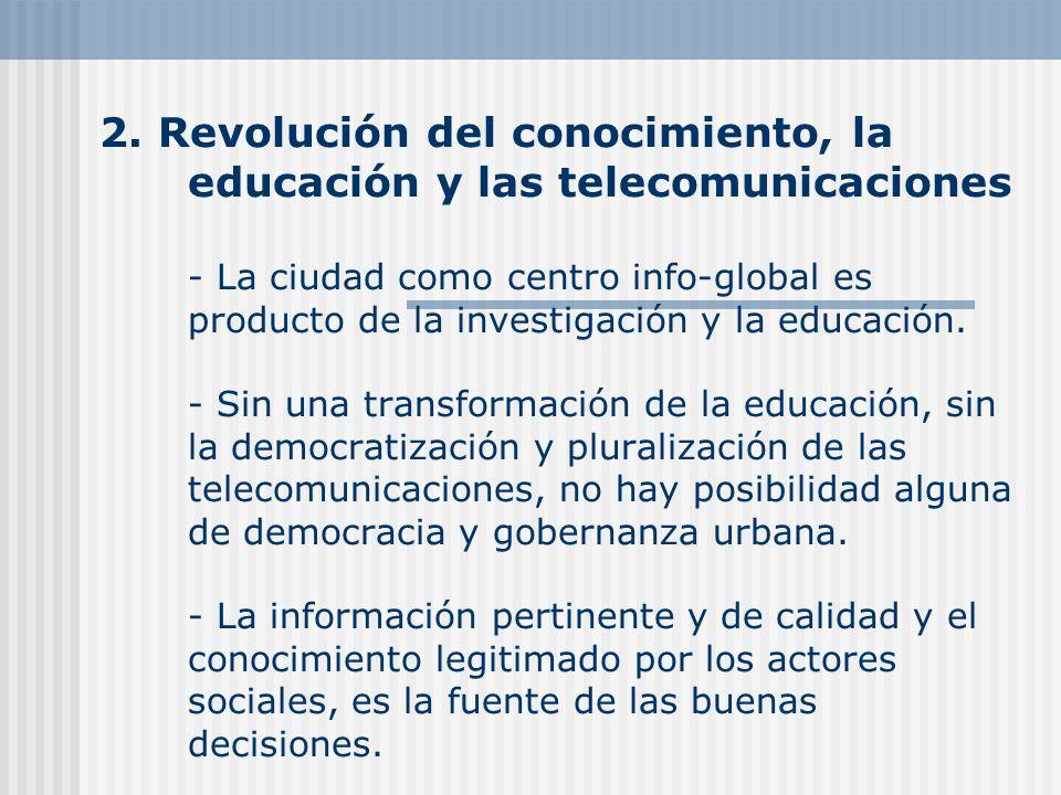 2. Revolución del conocimiento, la educación y las telecomunicaciones - La ciudad como centro info-global es producto de la investigación y la educaci