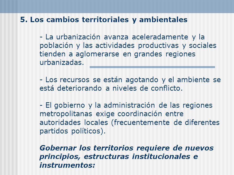 5. Los cambios territoriales y ambientales - La urbanización avanza aceleradamente y la población y las actividades productivas y sociales tienden a a