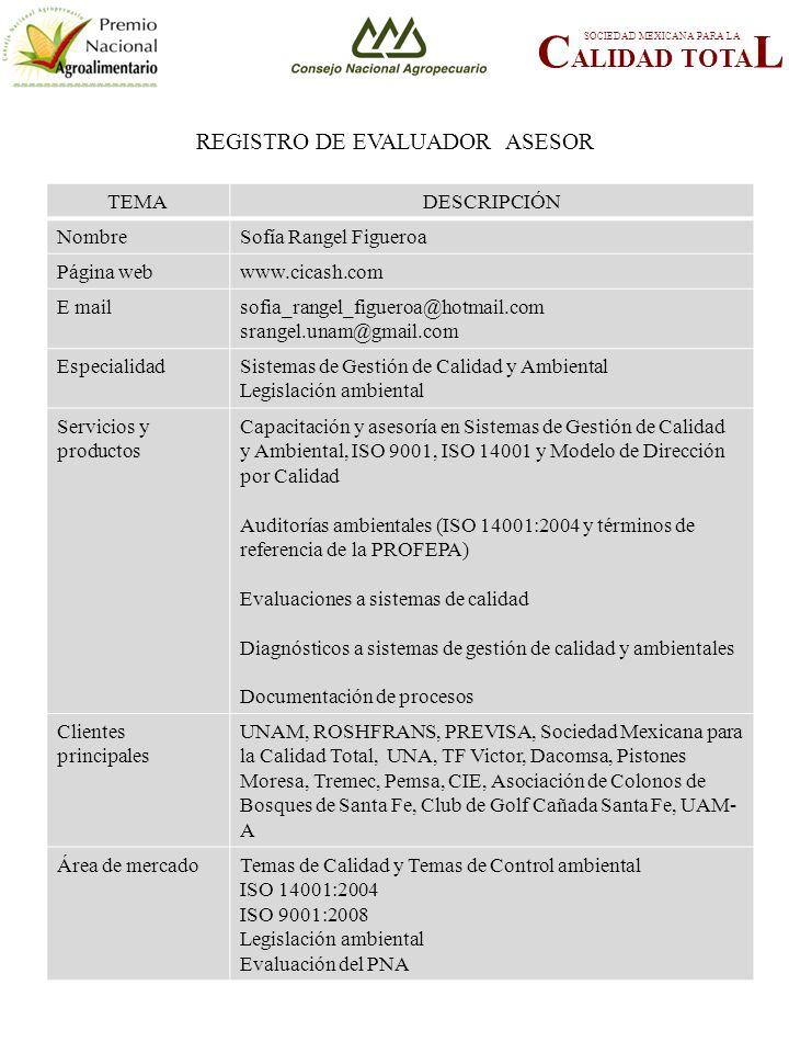 REGISTRO DE EVALUADOR ASESOR C ALIDAD TOTA L SOCIEDAD MEXICANA PARA LA TEMADESCRIPCIÓN NombreSofía Rangel Figueroa Página webwww.cicash.com E mailsofia_rangel_figueroa@hotmail.com srangel.unam@gmail.com EspecialidadSistemas de Gestión de Calidad y Ambiental Legislación ambiental Servicios y productos Capacitación y asesoría en Sistemas de Gestión de Calidad y Ambiental, ISO 9001, ISO 14001 y Modelo de Dirección por Calidad Auditorías ambientales (ISO 14001:2004 y términos de referencia de la PROFEPA) Evaluaciones a sistemas de calidad Diagnósticos a sistemas de gestión de calidad y ambientales Documentación de procesos Clientes principales UNAM, ROSHFRANS, PREVISA, Sociedad Mexicana para la Calidad Total, UNA, TF Victor, Dacomsa, Pistones Moresa, Tremec, Pemsa, CIE, Asociación de Colonos de Bosques de Santa Fe, Club de Golf Cañada Santa Fe, UAM- A Área de mercadoTemas de Calidad y Temas de Control ambiental ISO 14001:2004 ISO 9001:2008 Legislación ambiental Evaluación del PNA