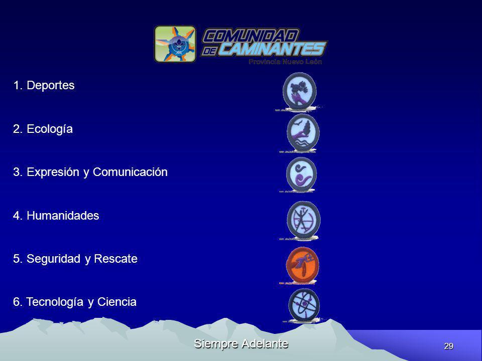 29 Siempre Adelante 1. Deportes 2. Ecología 3. Expresión y Comunicación 4. Humanidades 5. Seguridad y Rescate 6. Tecnología y Ciencia