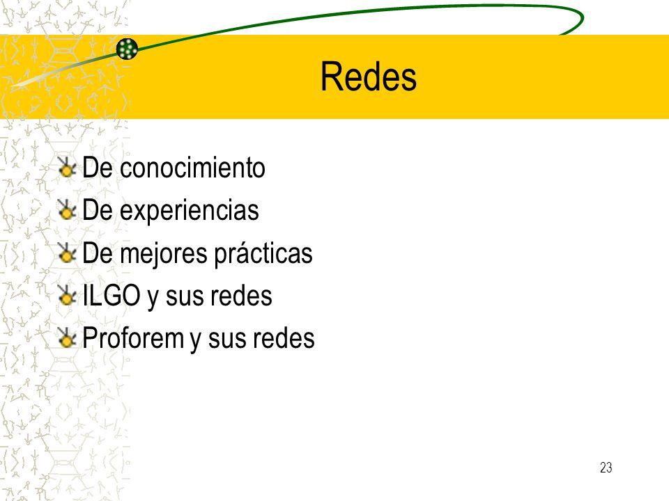 Redes De conocimiento De experiencias De mejores prácticas ILGO y sus redes Proforem y sus redes 23