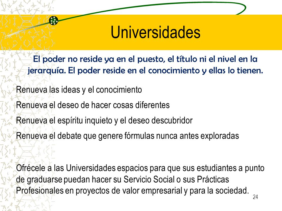 Universidades El poder no reside ya en el puesto, el título ni el nivel en la jerarquía.