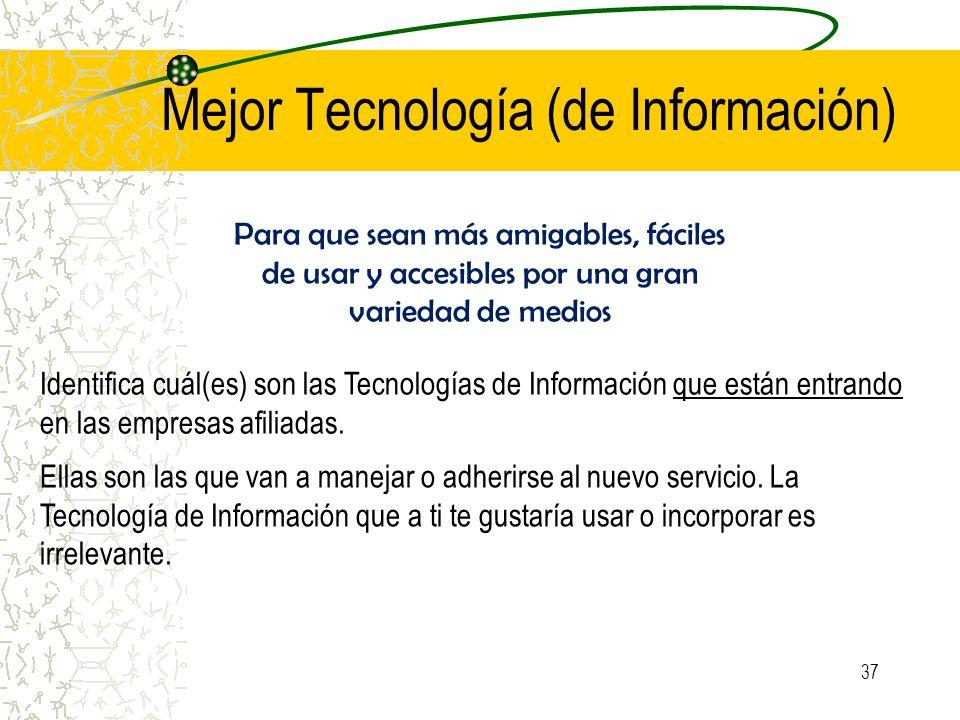 Mejor Tecnología (de Información) Para que sean más amigables, fáciles de usar y accesibles por una gran variedad de medios Identifica cuál(es) son las Tecnologías de Información que están entrando en las empresas afiliadas.