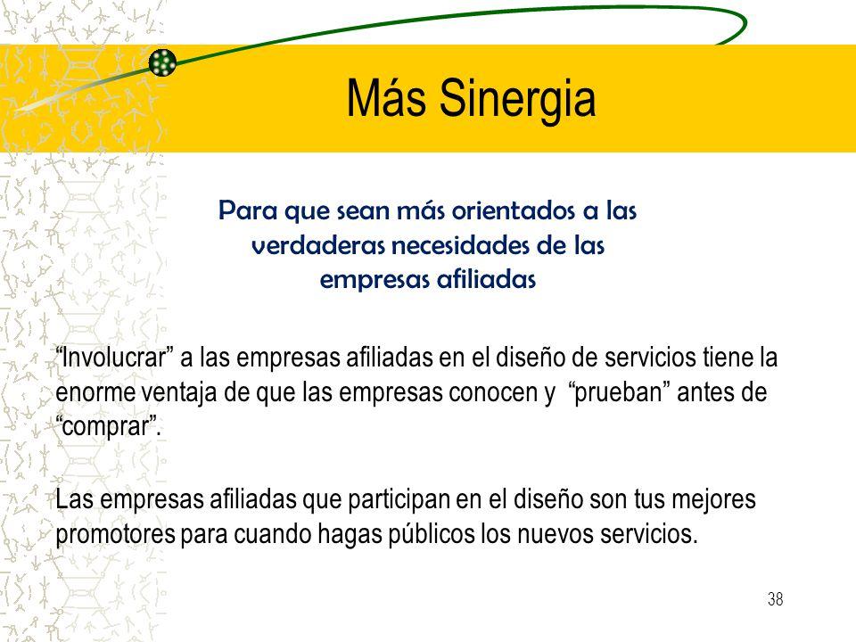 Más Sinergia Para que sean más orientados a las verdaderas necesidades de las empresas afiliadas Involucrar a las empresas afiliadas en el diseño de servicios tiene la enorme ventaja de que las empresas conocen y prueban antes de comprar.