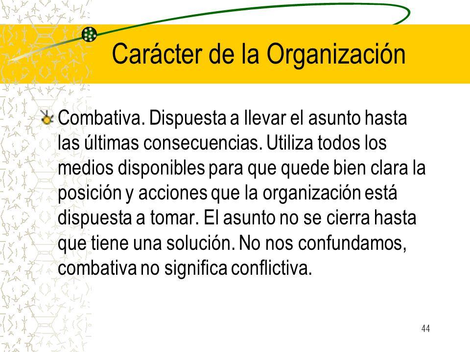 Carácter de la Organización Combativa.