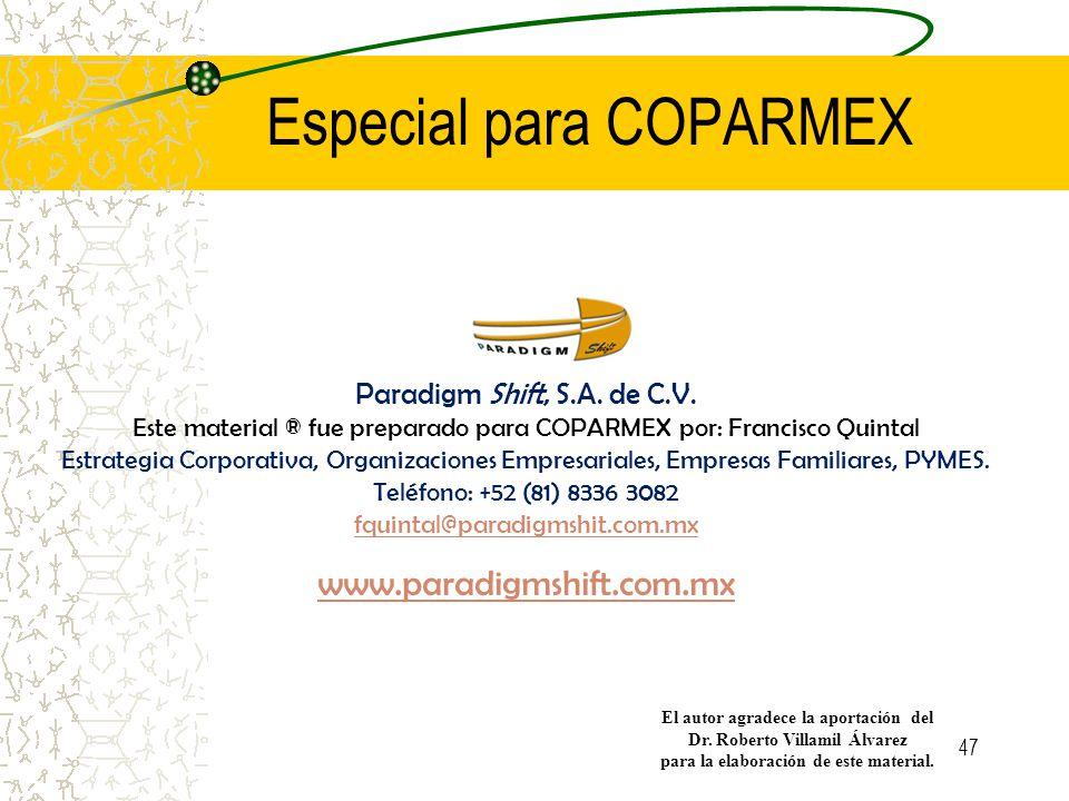 Especial para COPARMEX Paradigm Shift, S.A.de C.V.