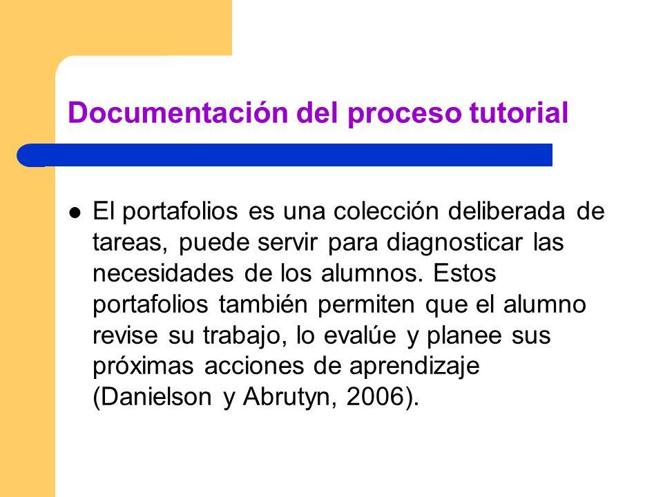 Documentación del proceso tutorial El portafolios es una colección deliberada de tareas, puede servir para diagnosticar las necesidades de los alumnos.