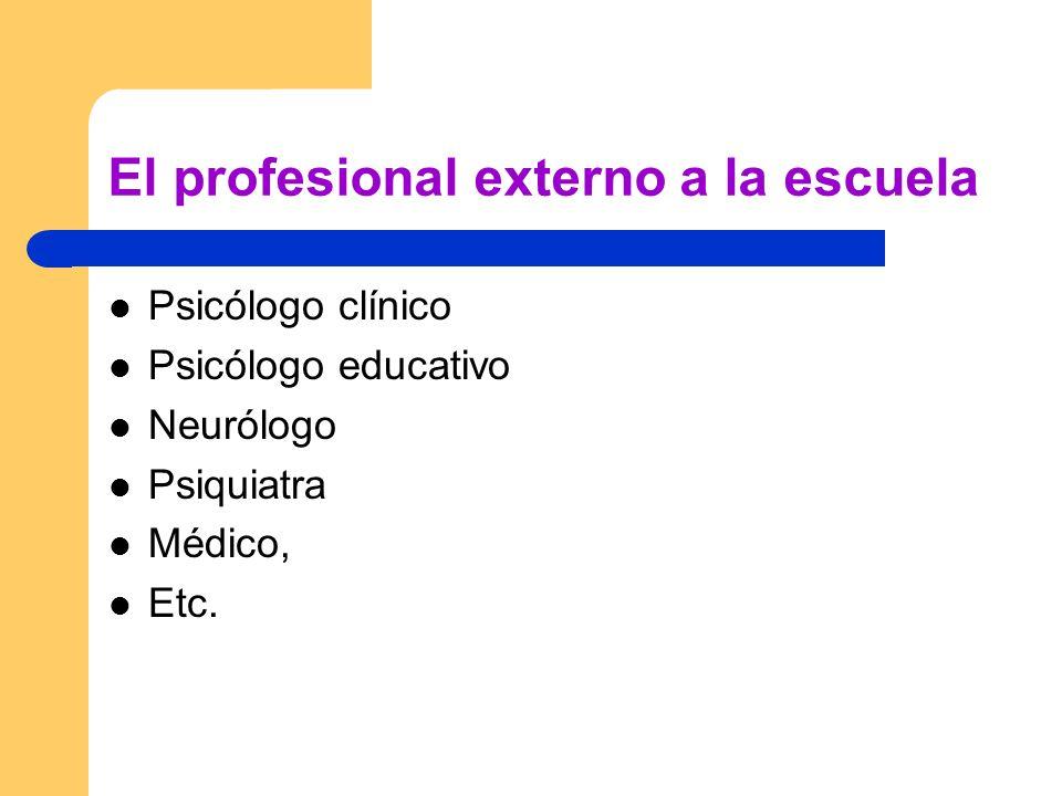 El profesional externo a la escuela Psicólogo clínico Psicólogo educativo Neurólogo Psiquiatra Médico, Etc.