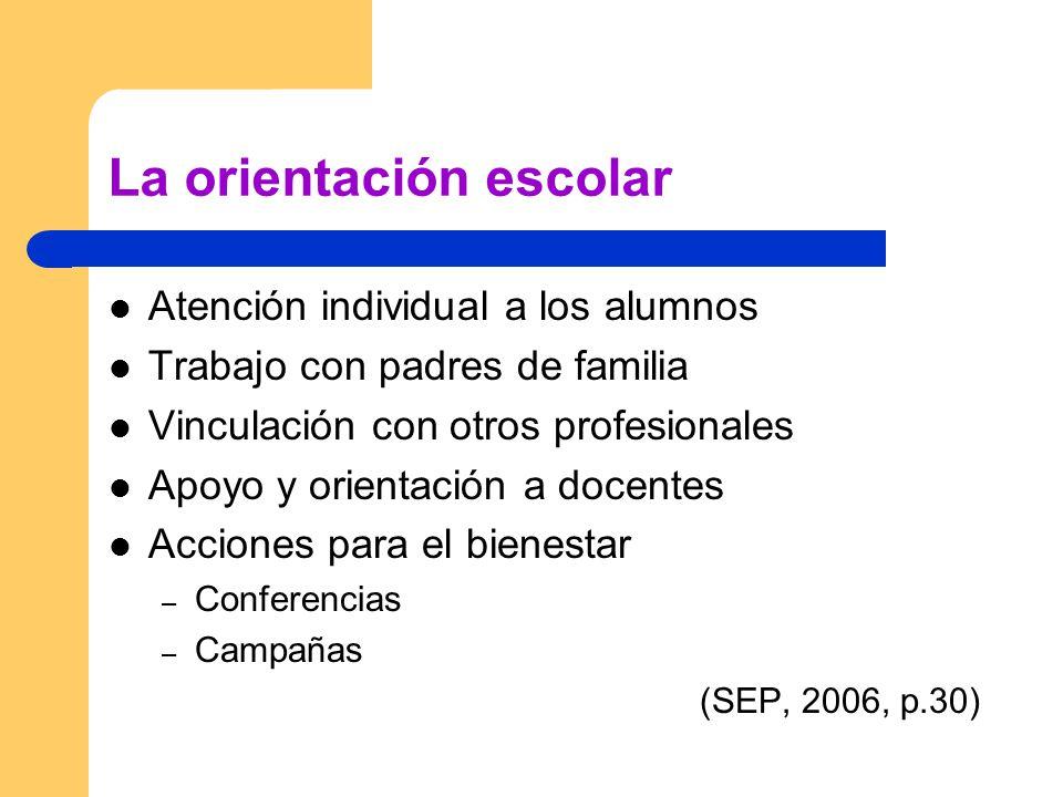 La orientación escolar Atención individual a los alumnos Trabajo con padres de familia Vinculación con otros profesionales Apoyo y orientación a docentes Acciones para el bienestar – Conferencias – Campañas (SEP, 2006, p.30)
