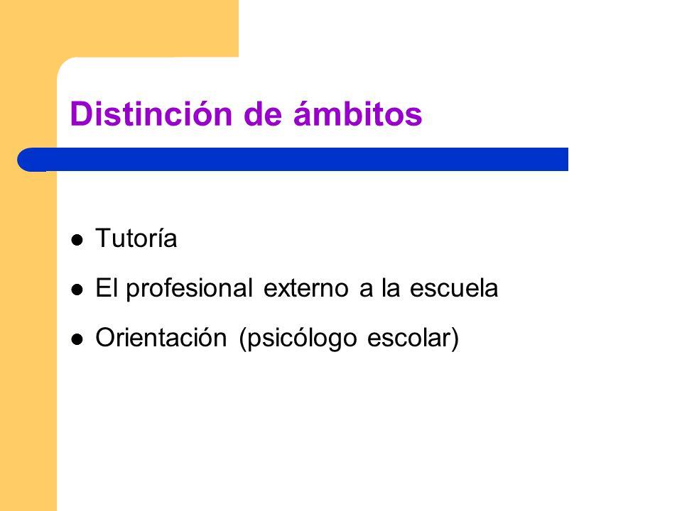 Distinción de ámbitos Tutoría El profesional externo a la escuela Orientación (psicólogo escolar)