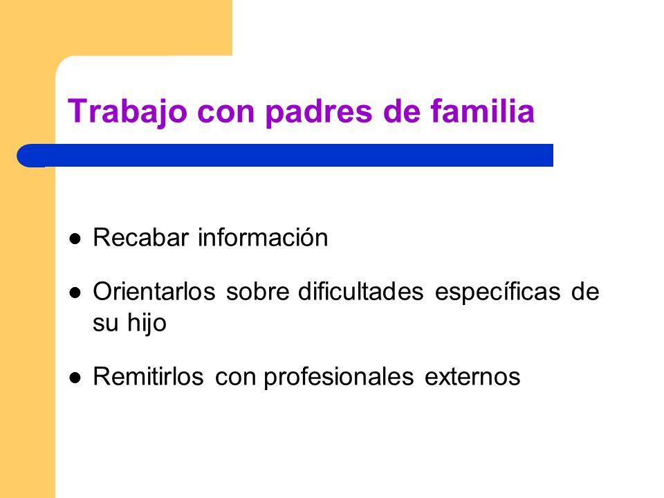 Trabajo con padres de familia Recabar información Orientarlos sobre dificultades específicas de su hijo Remitirlos con profesionales externos