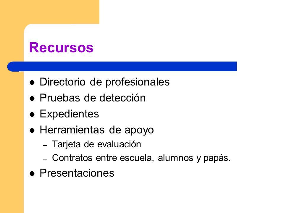 Recursos Directorio de profesionales Pruebas de detección Expedientes Herramientas de apoyo – Tarjeta de evaluación – Contratos entre escuela, alumnos y papás.