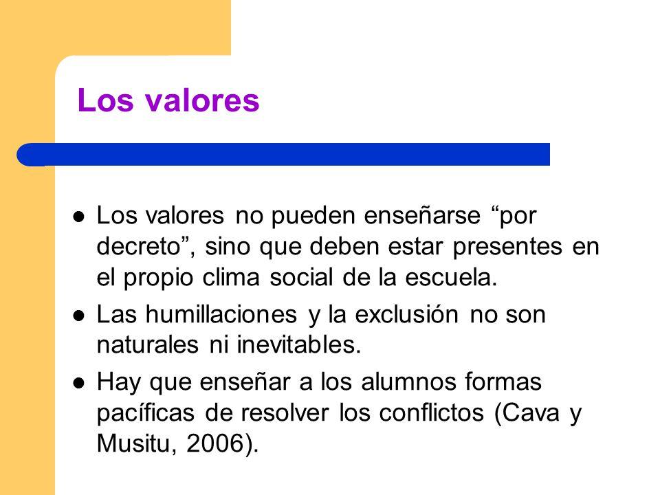 Los valores Los valores no pueden enseñarse por decreto, sino que deben estar presentes en el propio clima social de la escuela. Las humillaciones y l