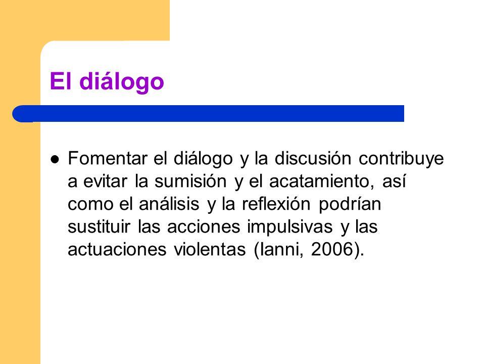 El diálogo Fomentar el diálogo y la discusión contribuye a evitar la sumisión y el acatamiento, así como el análisis y la reflexión podrían sustituir las acciones impulsivas y las actuaciones violentas (Ianni, 2006).