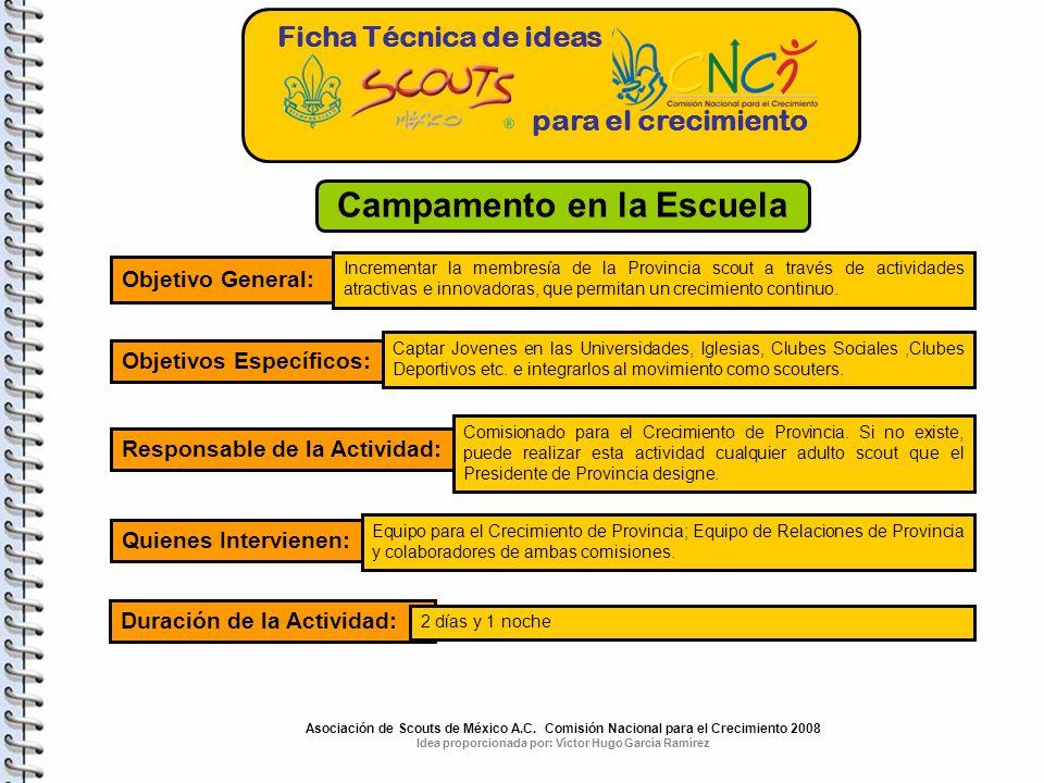 Ficha Técnica de ideas para el crecimiento Campamento en la Escuela Objetivo General: Incrementar la membresía de la Provincia scout a través de activ