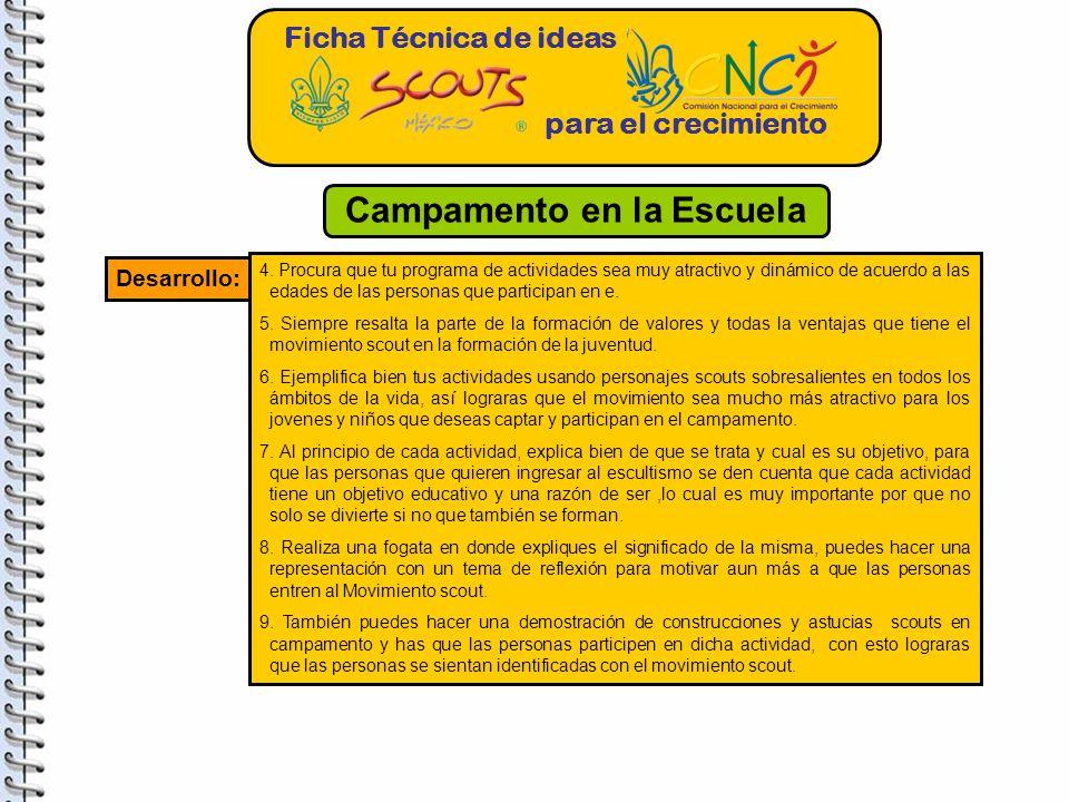 Ficha Técnica de ideas para el crecimiento Desarrollo: 4.