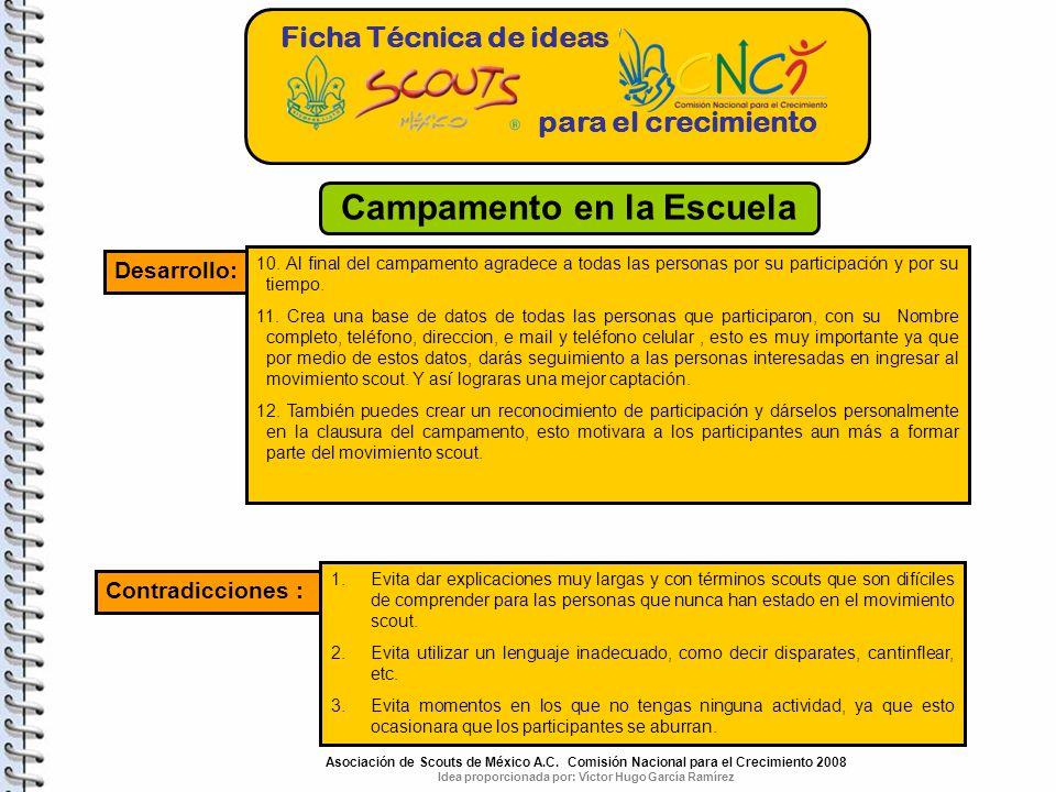 Ficha Técnica de ideas para el crecimiento Desarrollo: 10.
