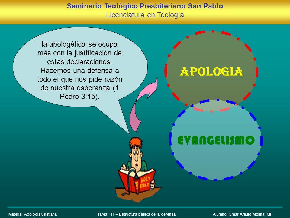 Seminario Teológico Presbiteriano San Pablo Licenciatura en Teología Materia: Apología CristianaAlumno: Omar Araujo Molina, MITarea: 11 – Estructura b