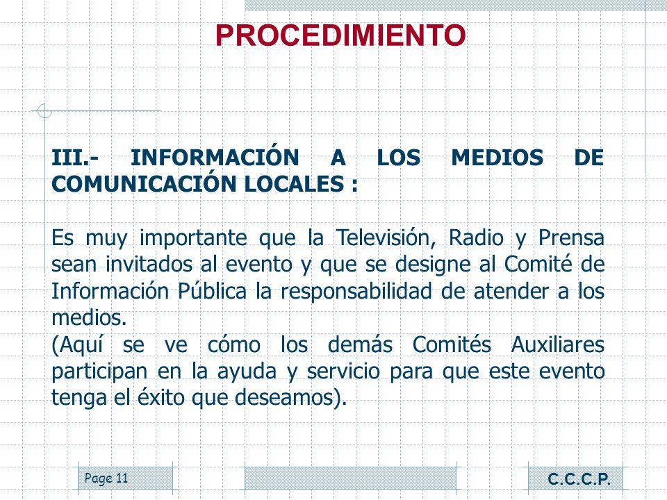 Page 10 II.- APOYO DE LOS COMITÉS AUXILIARES : Es importante que para realizar el Foro contemos con el apoyo de todos los Comités de Servicio, ya que